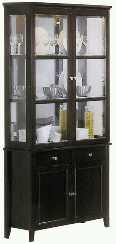 Brentwood Contemporary China Cabinet With Etched Glass