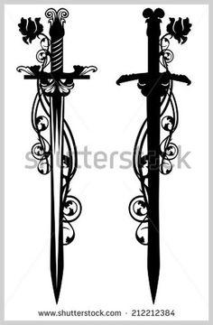 Ancient sword among rose flower stems - black and white vector design