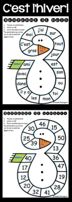 Comptine et activités pour l'hiver! Lecture, écriture, mathématiques. Parfait pour le 1er cycle! French Teaching Resources, Teaching French, French Education, Core French, French Classroom, French Immersion, French Teacher, French Words, Teaching Kindergarten