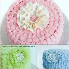Ruffles and Lace Fantasy Flowers - SugarEd Productions Online Classes Fondant Flower Tutorial, Fondant Figures Tutorial, Fondant Flowers, Cake Decorating Icing, Cake Decorating Tutorials, Fondant Cupcake Toppers, Cupcake Cakes, Fondant Bow, Car Cakes