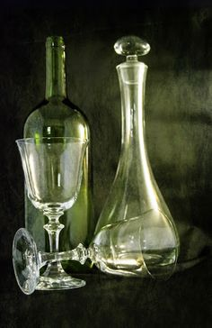 Everything Ends by Judy Hall-Folde - Artistic Objects Still Life ( story, carafe, glasses, still life, stemware, textures, emotive, wine bot...