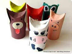 Lavoretti, zoo con i tubi di cartone: la mucca il cane il maialino ... tutti simpaticissimi