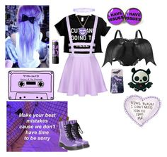 """Pastel Demon"" by emobandgeekforlife ❤ liked on Polyvore featuring Monsoon, Dr. Martens, Maybelline and pastelgoth"