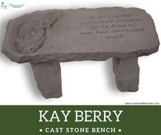 This cast stone memorial bench include a sentimental verse designed to convey your thoughts to that special friend or family member.  #memorialbenches #bench #green #sky #park #art #design #seating #usa #likeformore #wedding #handcraft