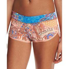 Maaji Bronze Shore Swim Shorts ($63) ❤ liked on Polyvore featuring swimwear, multi, maaji swim wear, slimming swimwear, swim trunks, print swimwear and maaji swimwear