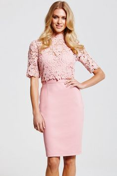 Paper Dolls Blush Floral Lace Overlay Dress