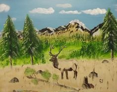 """""""Lonely Elk""""  20 x 16 acrylics on canvas panel."""