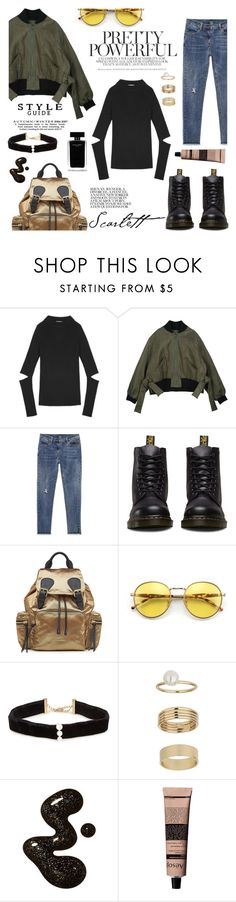 """""""In mood for black"""" by shopindigodesign ❤ liked on Polyvore featuring Dr. Martens, Burberry, Wildfox, Anissa Kermiche, Narciso Rodriguez, Miss Selfridge, Aesop, topsets, polyvoreeditorial and polyvorefashion"""