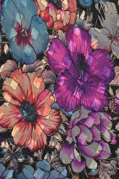 Sheer 1970s Metallic Silk Dress with Kimono Sleeves & Florals | BUSTOWN MODERN