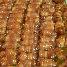 Bacon Wrapped Smokies with Brown Sugar and Butter...I tried these at a party and they were delicious!!!!