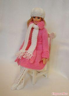 Вяжем вместе зимний наряд для Барби: пальто, шапочку, шарфик, варежки и сапожки - http://www.stranamam.ru/post/11954981/