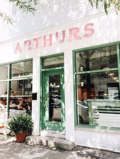 wear this there: arthurs nosh bar / sfgirlbybay Cafe Bar, Cafe Restaurant, Restaurant Design, Commercial Interior Design, Commercial Interiors, Shop Fronts, Retail Space, Interior And Exterior, Pink And Green