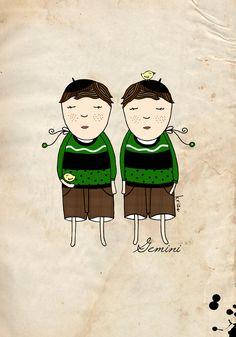 Digital Illustration Print Gemini Boy from Zodiac Signs serie by Kristina Sabaite
