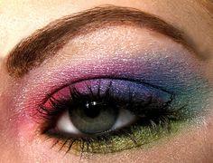 Colorful rainbow eyeshadow makeup