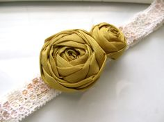 Mustard and Lace fabric flower headband by HappyLittleLovelies, $10.00