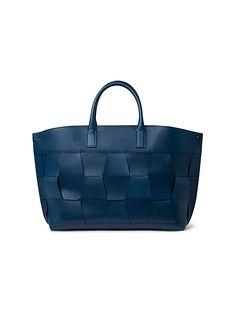 Akris Medium AI Braided Leather Tote | SaksFifthAvenue Braided Leather, Blue Bags, Shoulder Strap, Initials, Braids, Tote Bag, Medium, Accessories, Texture