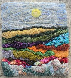Needle felting and hand embroidery on burlap by Elisabeth Hermanson