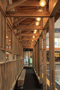 秋田駅西口バスターミナル実施設計の現場より Bus Terminal, Architecture Design, Facade Design, Bus Stop, Wooden Frames, Landscape Design, Woodworking, Places, Study