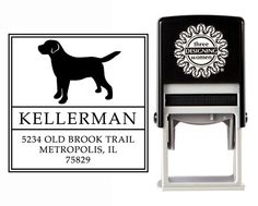 """""""Puppy Love"""" Self-Inking Personalized Square Dog Design Address Stamp - CS3631 from The Cute Kiwi"""