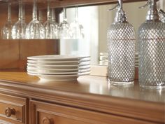 Add storage to your dining room with the Claire wood china cabinet.