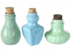 Set of Three Antique Blue and Green Milk Glass Bottles with Corks #2 from Relique