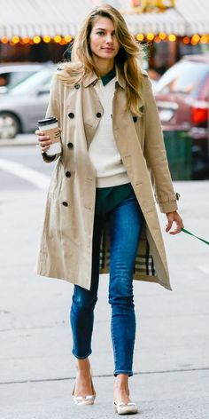 Jessica Hart street style. This outfit is preppier than how I usually dress but the jeans relax the look, so it works. Also love the green shirt and cream sweater on top. I'd like to find a coat like this one and you can never go wrong with flats, especia