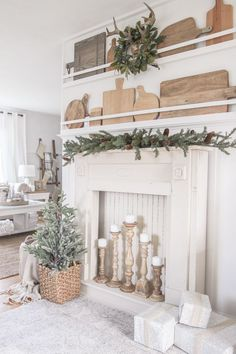 A rustic mantel is given a big makeover for the holidays! See how milk paint transformed this cozy cottage mantel. A rustic mantel is given a big makeover for the holidays! See how milk paint transformed this cozy cottage mantel. Decor, Fireplace Mantel Decor, Home Decor Inspiration, Christmas Fireplace Decor, Cozy House, Home Decor, Farmhouse Fireplace Mantels, Winter Home Decor, Fireplace Makeover