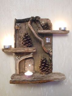 Beautiful Driftwood Fairy House Candle Display by oddityavenue on Etsy www.Custom Handmade Medium Driftwood Fairy House Home Wall DecorCrochet Patterns Fall 11 beautiful DIY ideas that you can tinker with driftwood! - Crafting ideas for . Driftwood Projects, Driftwood Art, Driftwood Ideas, Painted Driftwood, Craft Projects, Projects To Try, Garden Projects, Christmas Crafts, Christmas Decorations
