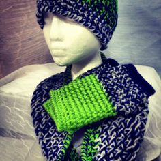 SEATTLE SEAHAWKS inspired TRIcolor Beanie w/matching Infinity Scarf, and HANDWAR
