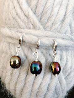 Rainbow Glass Bead Stitch Markers Rainbow Glass, Pearl Earrings, Drop Earrings, Stitch Markers, Glass Beads, Knitting, Board, Handmade, Gifts