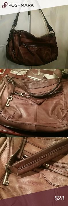 Fossil Brown Genuine Leather purse Used good condition Fossil Bags Shoulder Bags