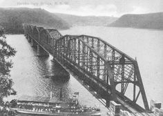 """First Hawkesbury River Railway Bridge, opened on the 1 May Paddle Steamer """"General Gordon"""" passing under it. Old Photos, Vintage Photos, Botany Bay, Central Coast, Historical Pictures, Sydney Harbour Bridge, Sydney Australia, Past, Beautiful Places"""