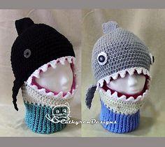 Shark/Whale Mask Ski Hat 5 Sizes Child-Adult by CathyrenDesigns Crochet Shark, Sombrero A Crochet, Crochet For Boys, Crochet Baby, Kids Ski Mask, Yarn Projects, Crochet Projects, Shark Mask, Ski Hats