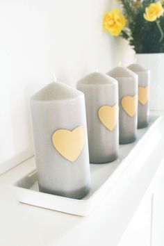 Candle is a good idea, if you want to get a rapid decoration for Valentine's Day!