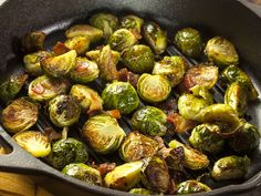 Roasted Brussels Sprouts with Balsamic Reduction, Dried Cherries, and Almonds on… Grilled Brussel Sprouts, Sprouts With Bacon, Brussels Sprouts, Cooking Bacon, Cooking Recipes, Healthy Recipes, Delicious Recipes, Veggie Side Dishes, Brussels Sprout