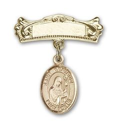 ReligiousObsession's Gold Filled Baby Badge with St. Gertrude of Nivelles Charm and Arched Polished Badge Pin *** Click image for more details.
