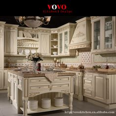 Latest white wooden kitchen furniture with gold trimming