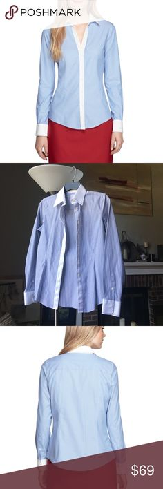 Brooks brothers striped white cuff shirt Vertical pinstripe print button up blouse, crisp white collar and cuff with stitch detail, non iron, 100% cotton with a hint of stretch for comfort and a slightly tailored fitted silhouette, forward point collar, elegant extended neckline with 6 pleated shirring at the single button cuff,  excellent condition. Specially treated to resist wrinkled Brooks Brothers Tops Button Down Shirts