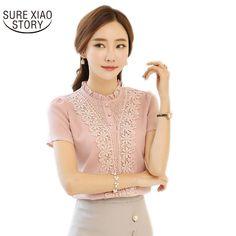 2017 Novo Estilo de Moda Chegada Mulheres Blusas Doce Senhora Bonito blusas Plus Size Camisa de Manga Curta Com Decote Em V Camisa Branca 37F 30