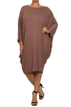 ColorMC Women's Plus Size Solid Knit Midi 3/4 Dolman Sleeves Draped Sides Dress *** Don't get left behind, see this great  product : Plus size dresses