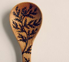 Fern Cooking and Serving Spoon//Wooden by copperandash on Etsy