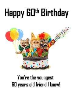 Animal Party Happy 60th Birthday Card