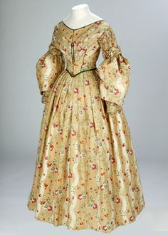 Day dress, c. 1836-1840  Day dress  England  c. 1836 - 1840  Cotton, silk satin and linen