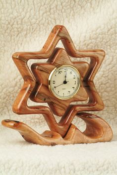 Clocks - Decor : Star of David Clock - Decor Object Diy Clock, Clock Decor, Wall Clock Design, Wood Clocks, Gifts For Office, Star Of David, Scroll Saw, Wood Turning, Wood Art