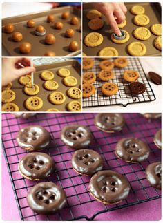 "Bakerella: ""Coraline"" button-cookies - use a 2 liter soda bottle lid to depress the dough balls & then a straw to make the holes - GENIUS! Would be great for LalaLoopsy themed party!"