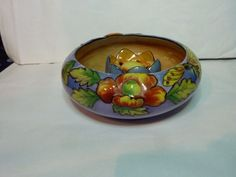 Vintage Luster Ware Bowl With Flower Frog in Center, Has a Firefly & Flowers