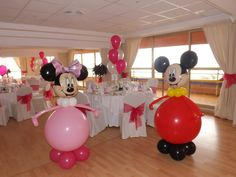 Minnie y Mickey Mouse, fiesta infantil - Dale Detalles Minnie Y Mickey Mouse, Fiesta Mickey Mouse, Mickey Party, Minnie Maus Ballons, Mickey Balloons, Mickey First Birthday, Mickey Mouse Clubhouse Birthday, Balloon Decorations, Birthday Party Decorations