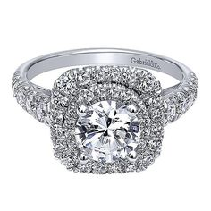 14K White Gold Two Tier Double Halo Round Diamond Engagement Ring