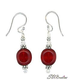 Handcrafted 1 1/2 inch red glass bead handmade beaded earrings created with red Czech window glass beads, Swarovski Austrian crystals AB, Bali .925 silver, silver earwires, sterling silver.