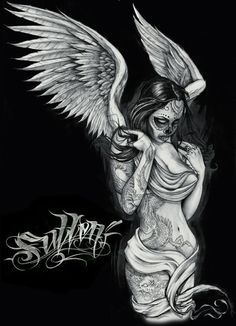 Angel Sullen Black Tee Shirt: This men's t-shirt features hand-drawn artwork by Adam Jackson in full-color print on 100% cotton. Description…